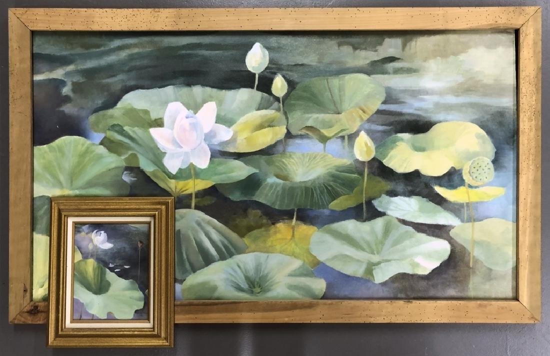 Two David Quigley Oil Paintings of Water Lilies