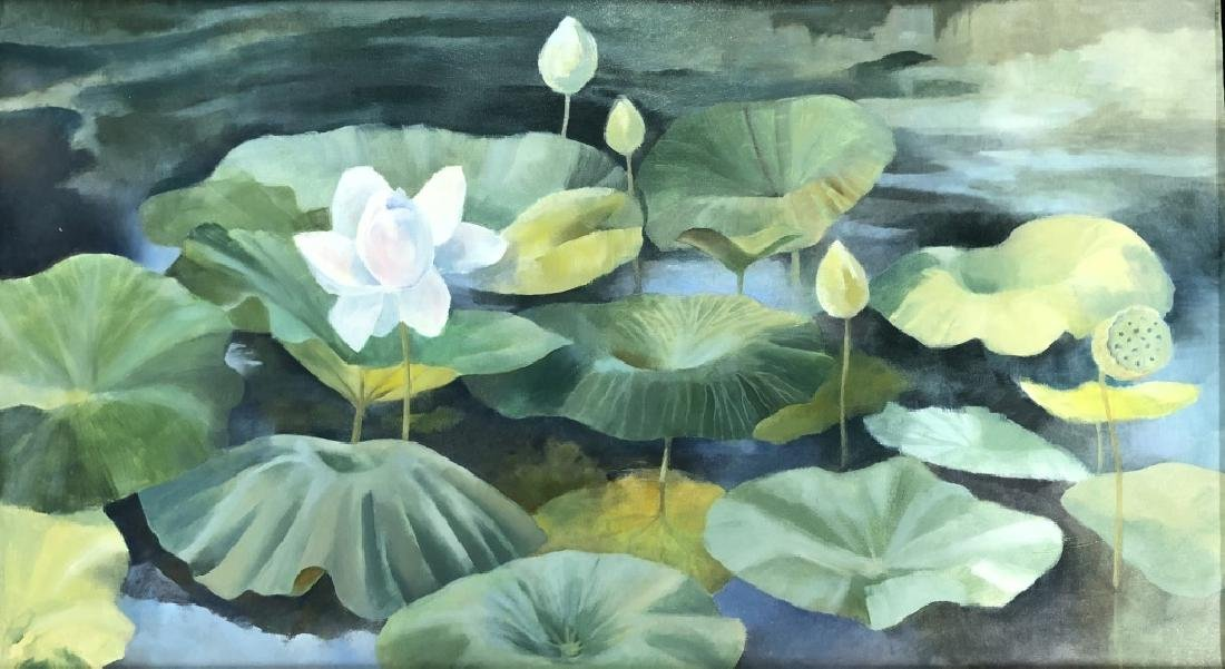 Two David Quigley Oil Paintings of Water Lilies - 3