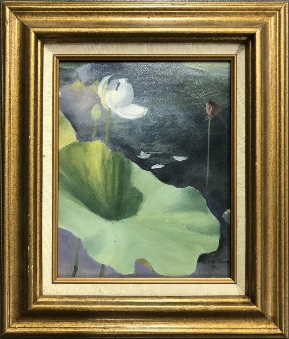 Two David Quigley Oil Paintings of Water Lilies - 4