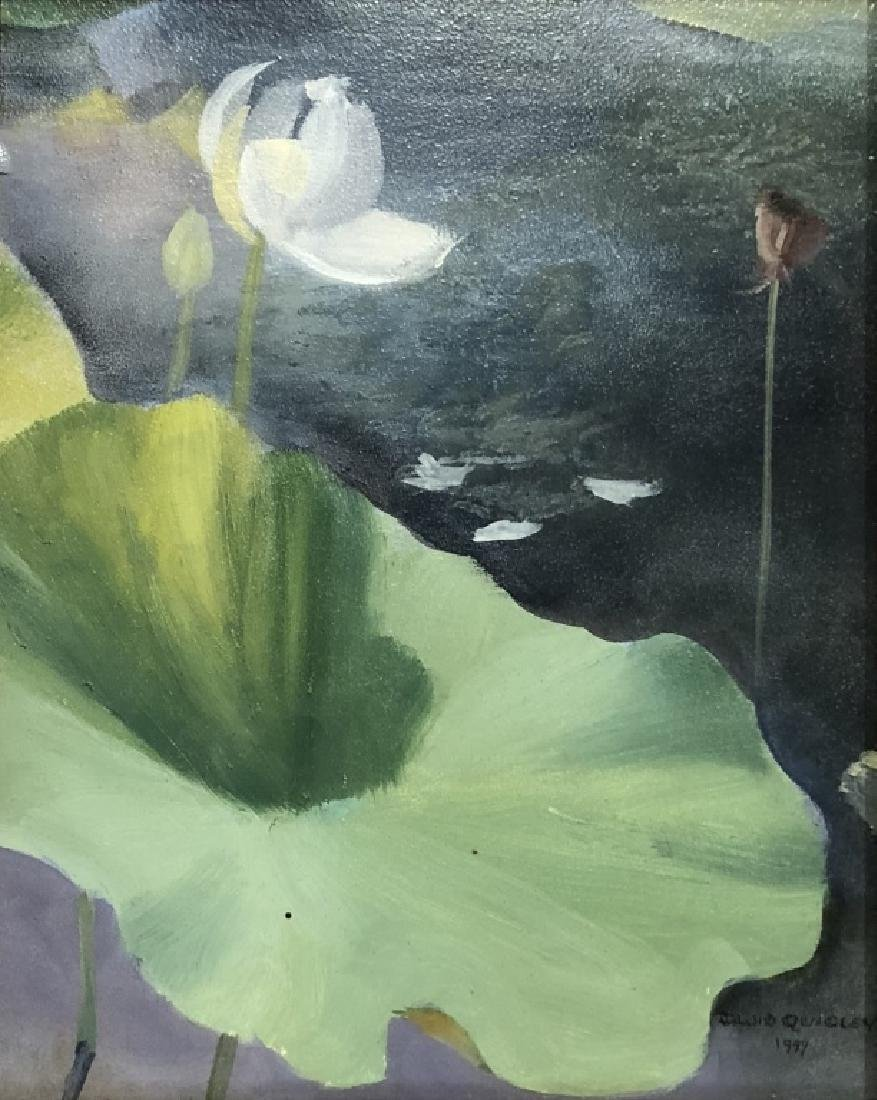 Two David Quigley Oil Paintings of Water Lilies - 5