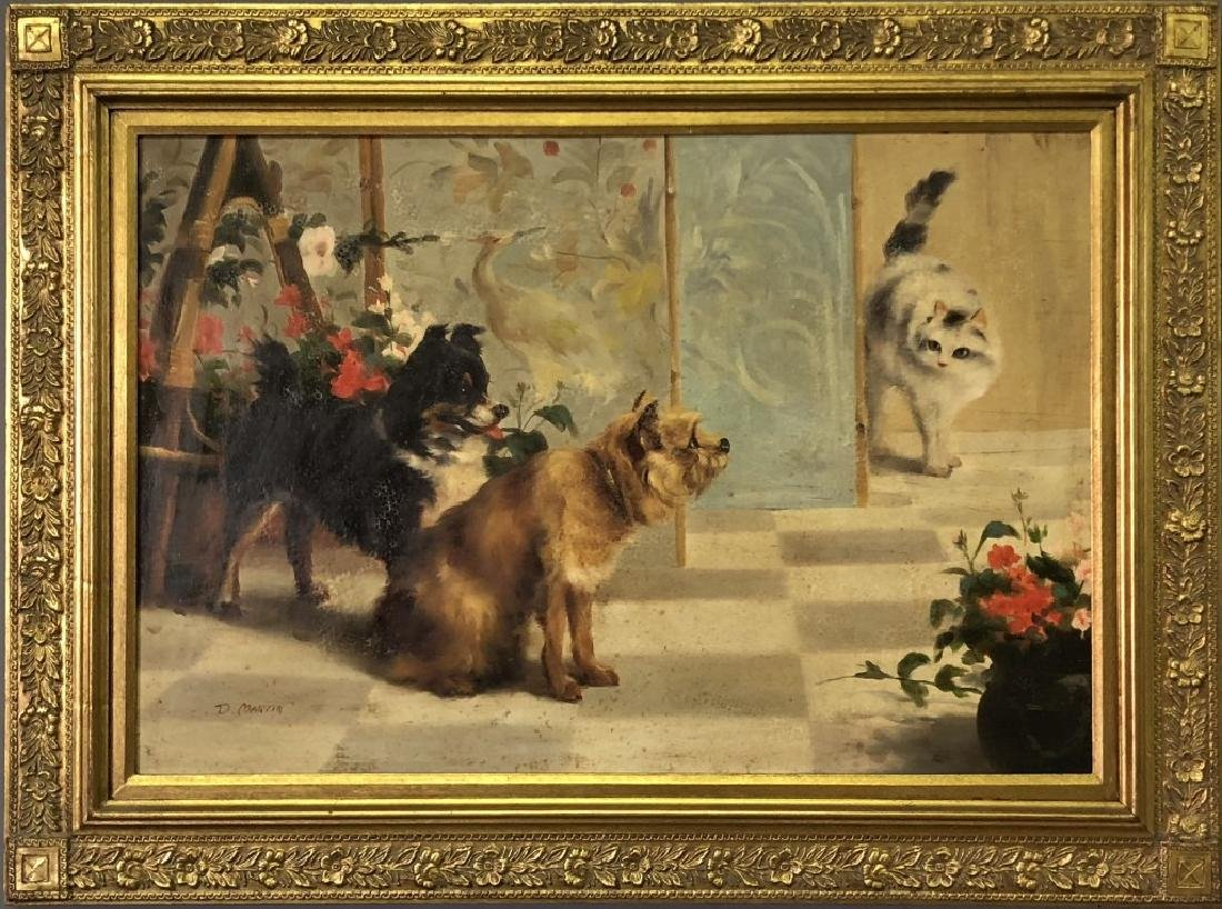 Oil on Canvas of Dogs and a Cat