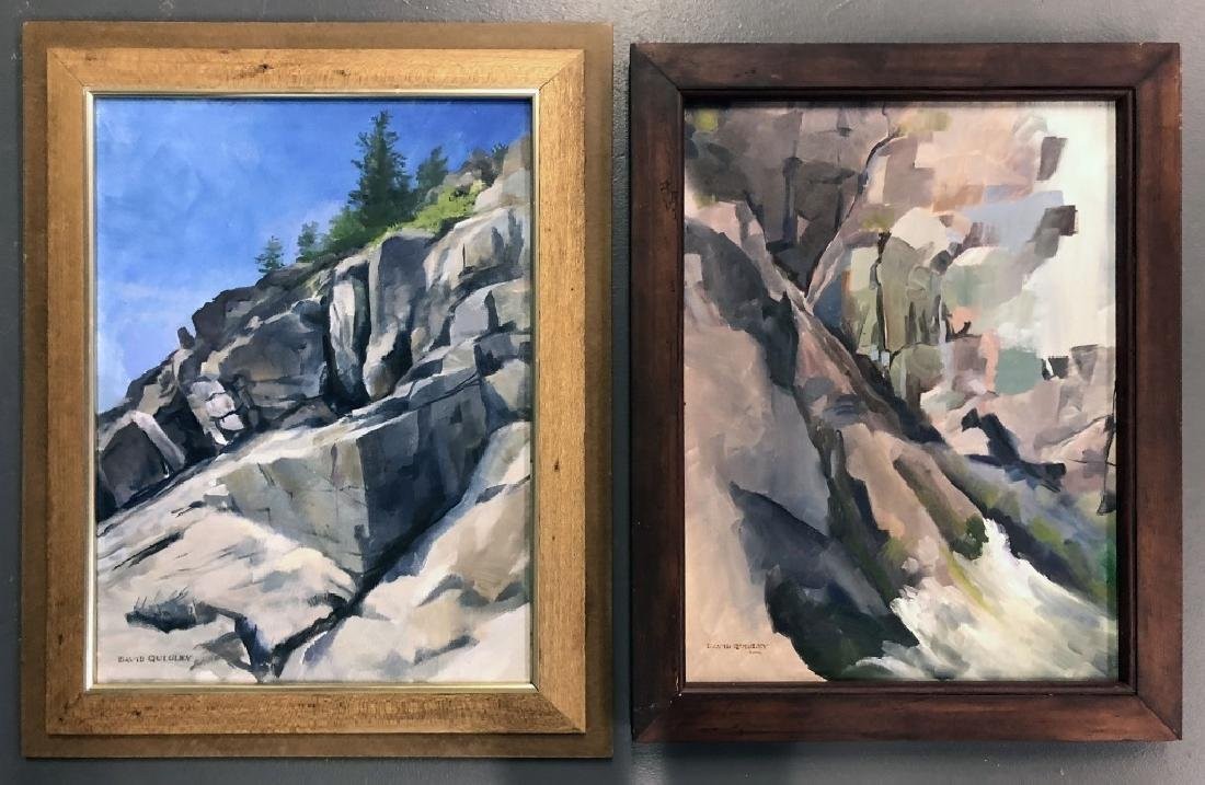 Two Quigley Oil Paintings of Maine Rocky Slopes