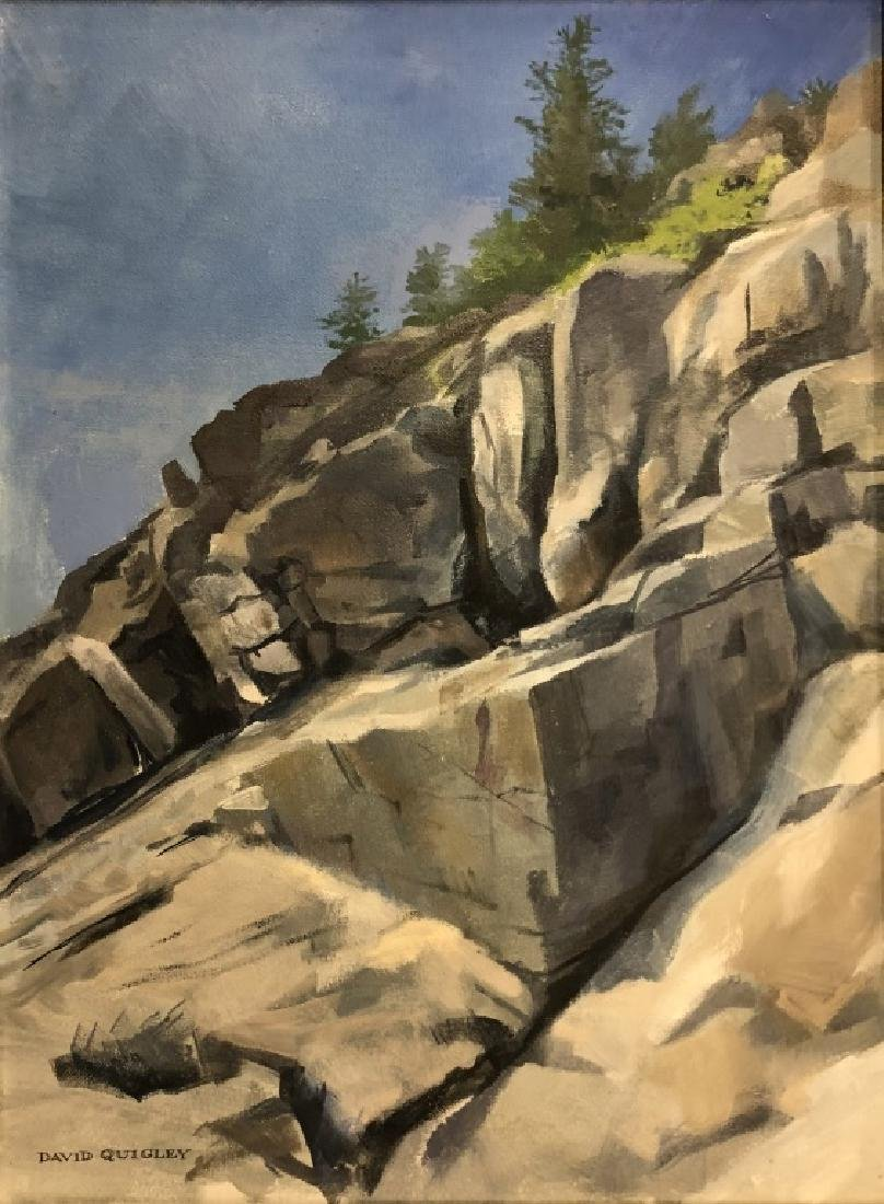 Two Quigley Oil Paintings of Maine Rocky Slopes - 2