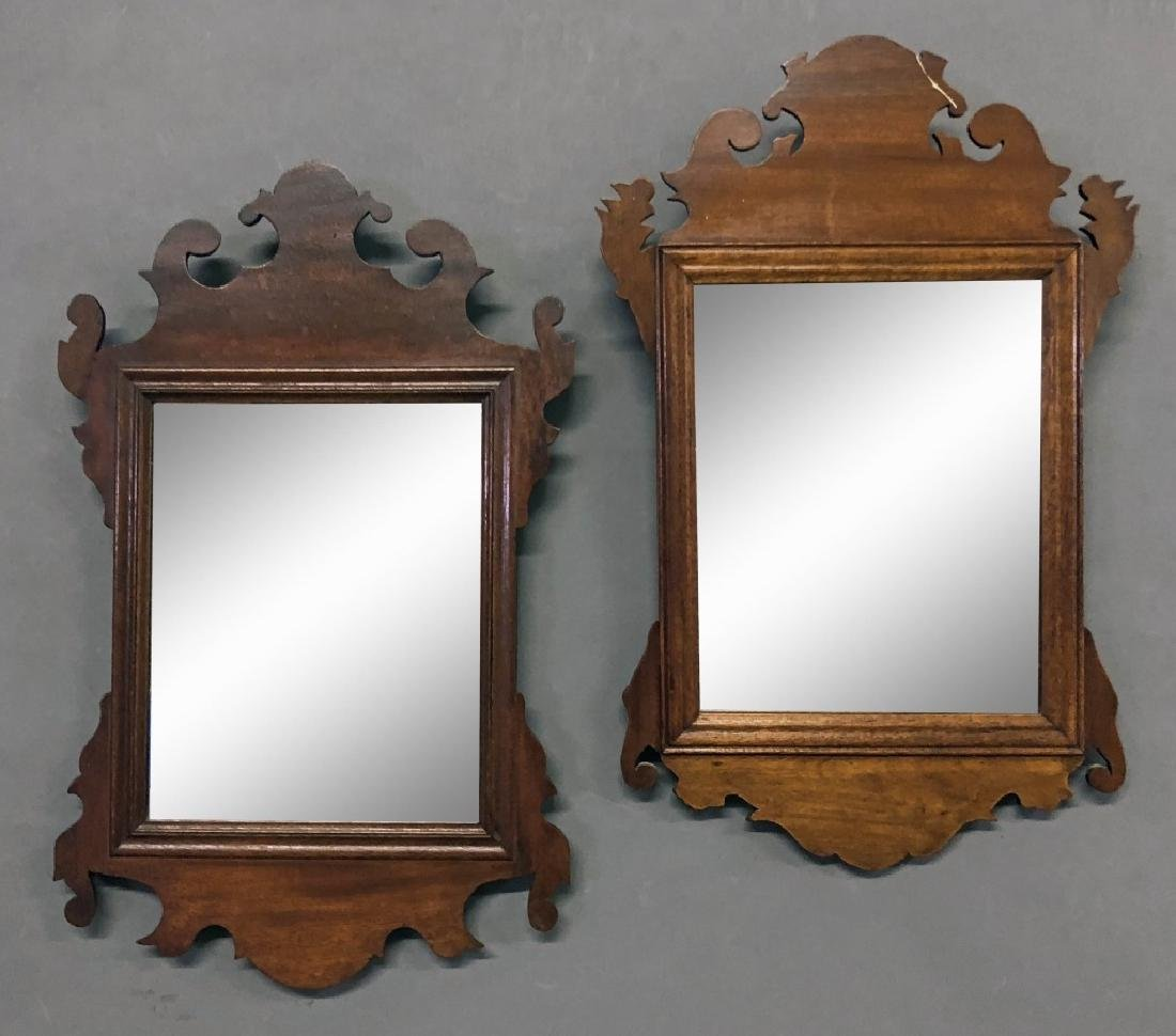 Two Small Chippendale Style Mahogany Mirrors