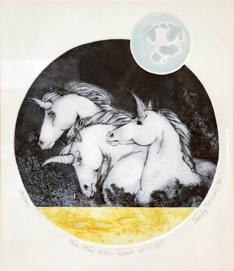 """Unicorn Print """"Here They Often Roam at Night"""" - 2"""