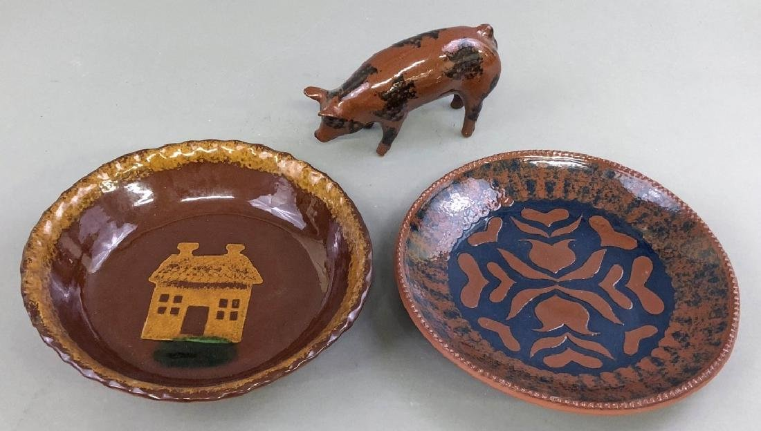 Redware Plates and Pig