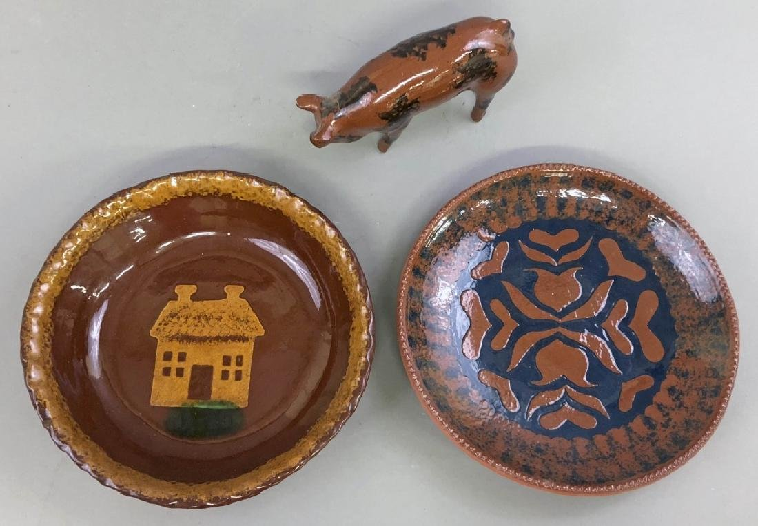 Redware Plates and Pig - 2