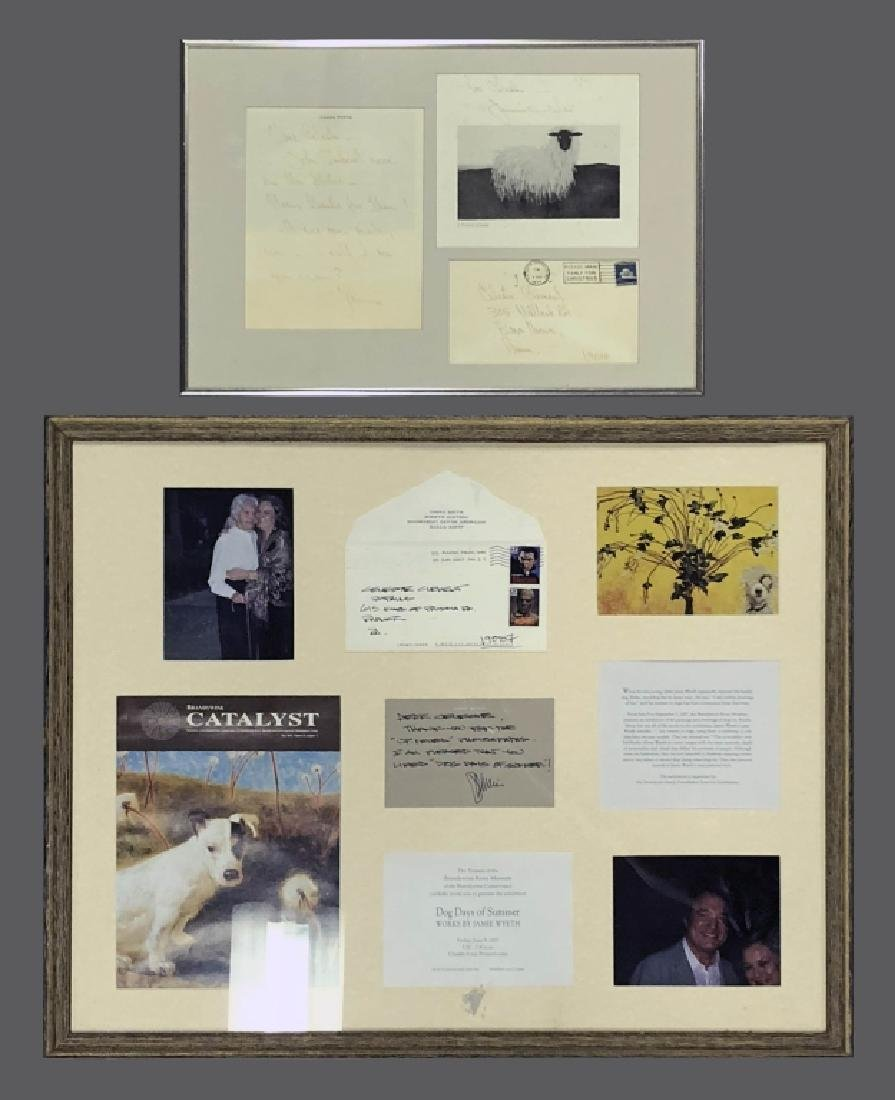 Two Framed Signed Jamie Wyeth Notes
