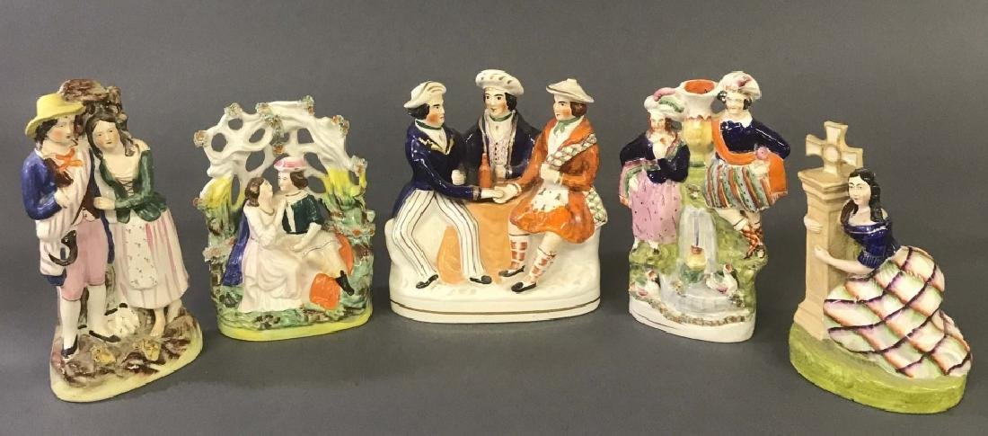 Five Staffordshire Figures