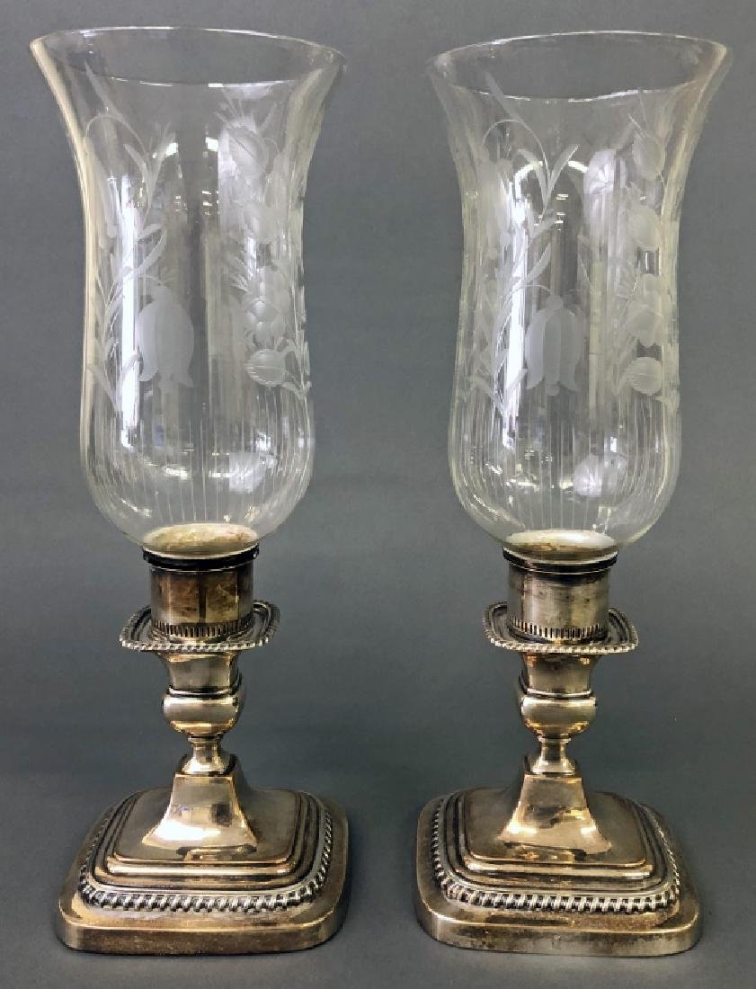 Two Sheffield Silver Candlesticks with Shades