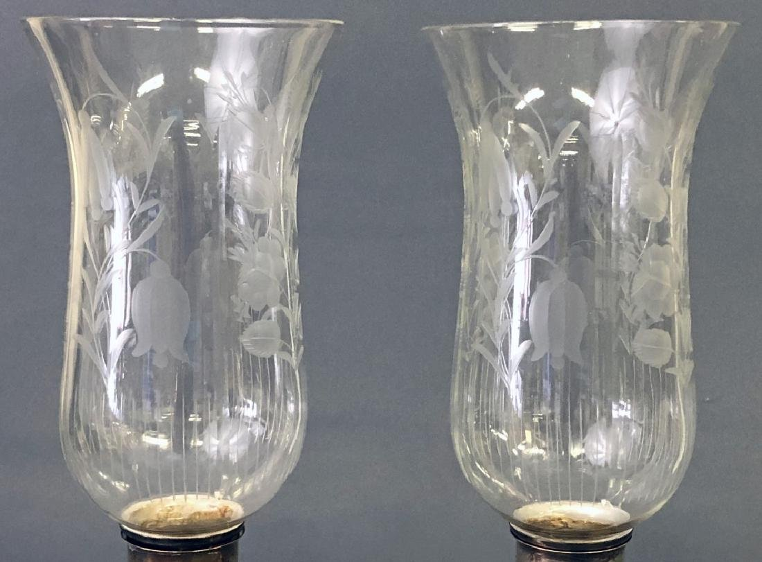 Two Sheffield Silver Candlesticks with Shades - 2