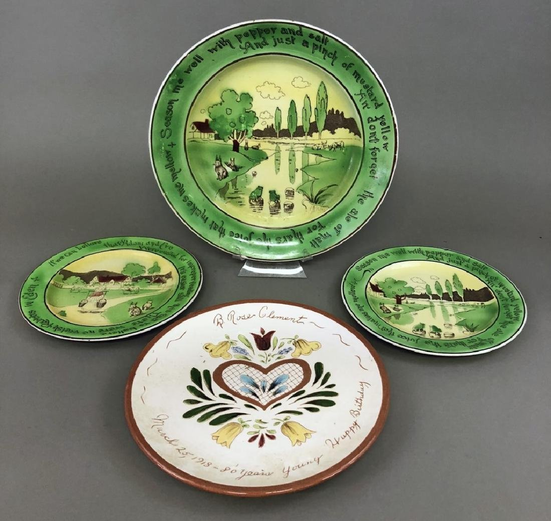 St. Augustine Ware Rabbit Motto Charger and Plates