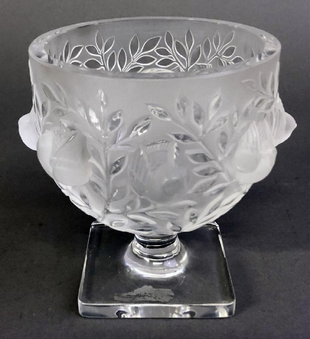 Signed Lalique Square-Footed Bowl