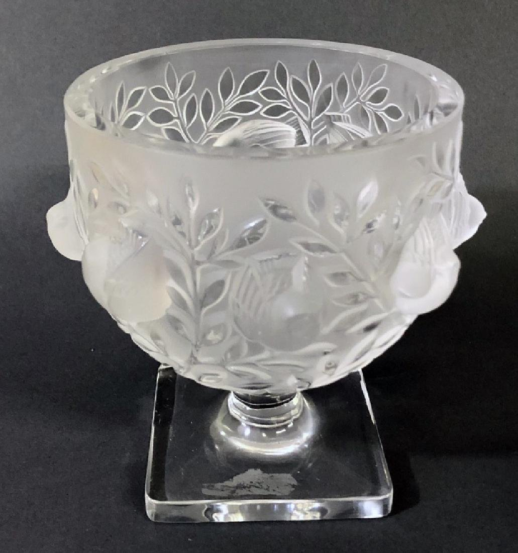 Signed Lalique Square-Footed Bowl - 2