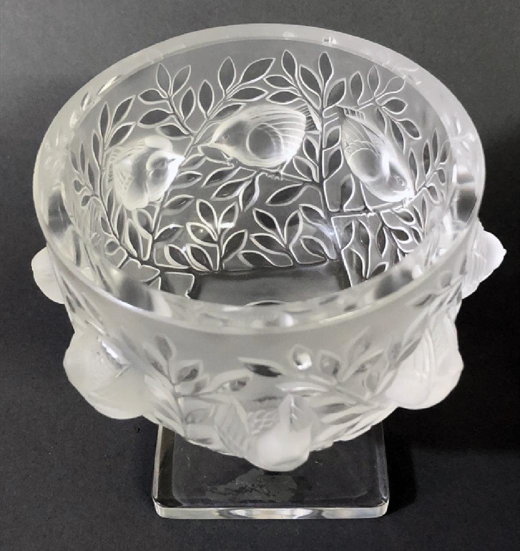 Signed Lalique Square-Footed Bowl - 3
