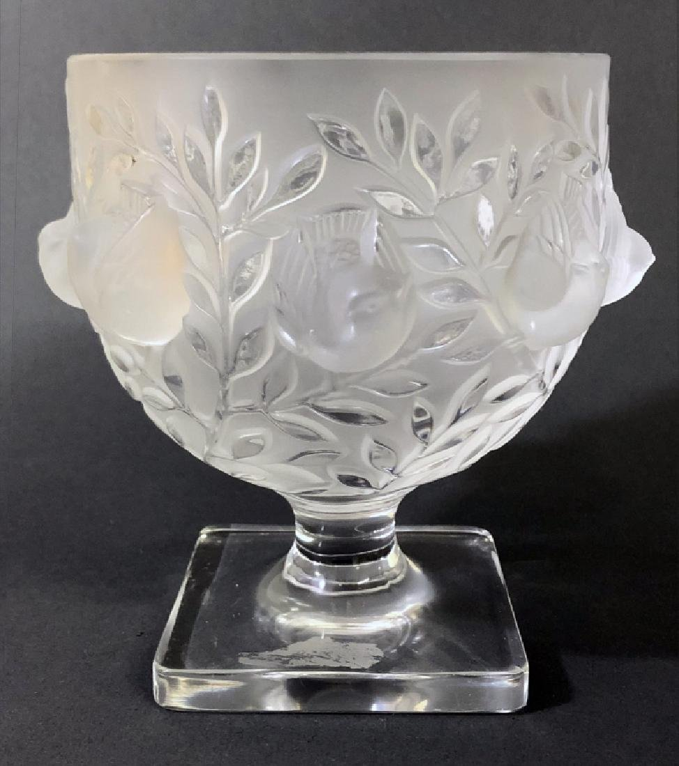 Signed Lalique Square-Footed Bowl - 4