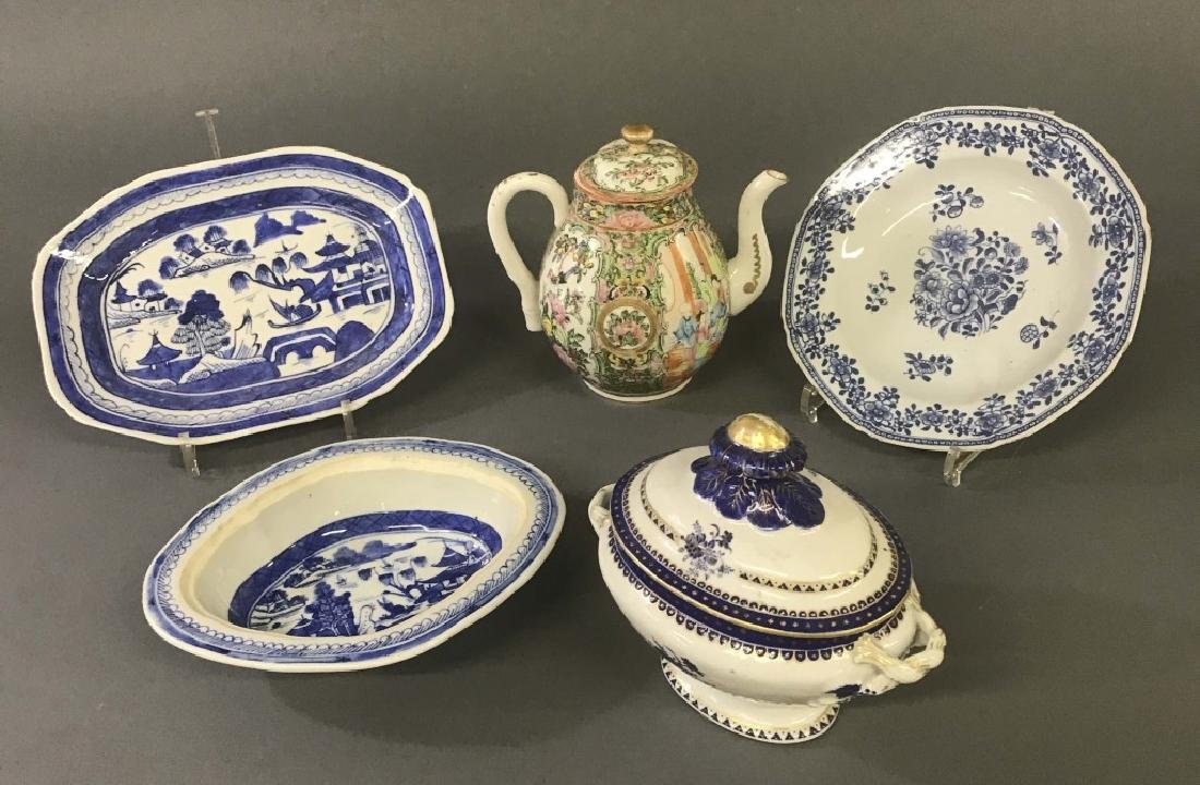Chinese Export Porcelain Dishes and Coffee Pot