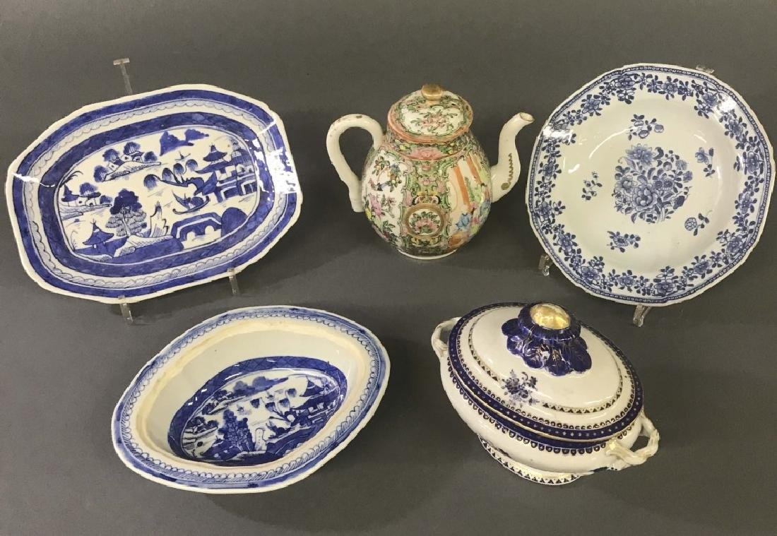 Chinese Export Porcelain Dishes and Coffee Pot - 2