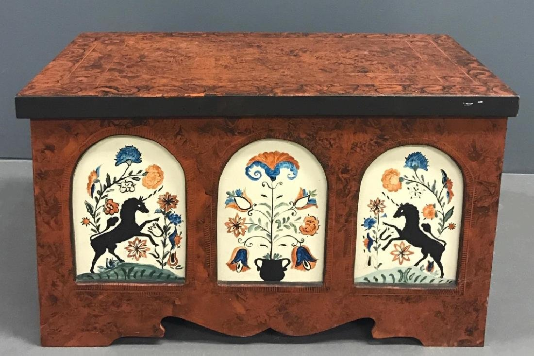 Contemporary Painted Unicorn Dower Chest