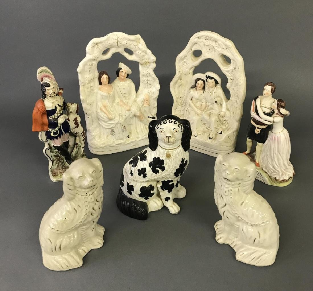 Staffordshire Spaniels and Figural Groups