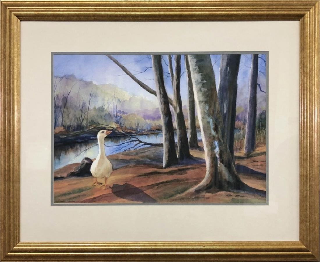 Signed Watercolor of a Snow Goose