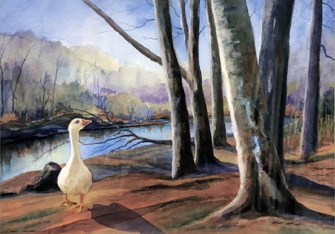 Signed Watercolor of a Snow Goose - 2