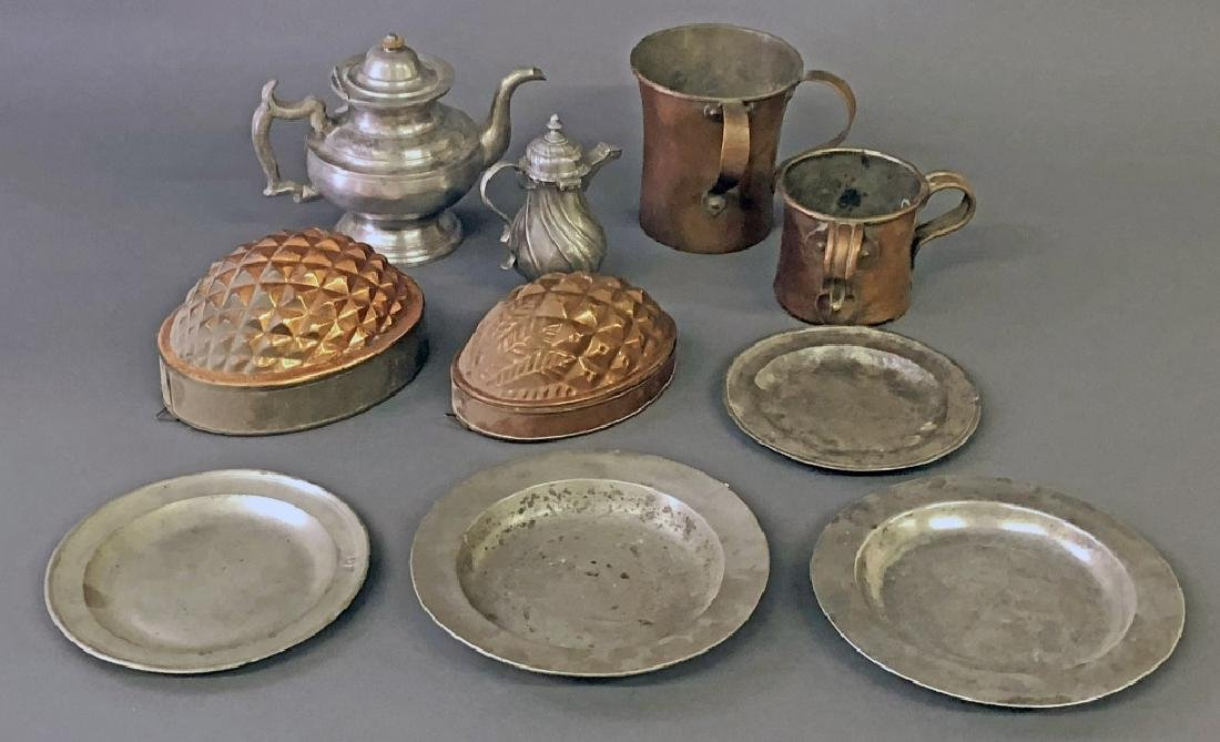 Pewter and Copper Kitchen Ware