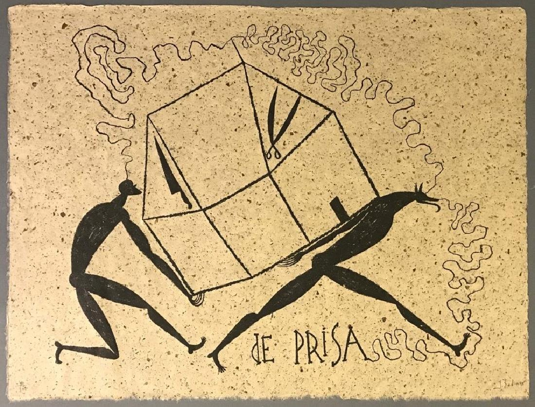 "Jose Bedia Valdes ""De Prisa"" Lithograph"