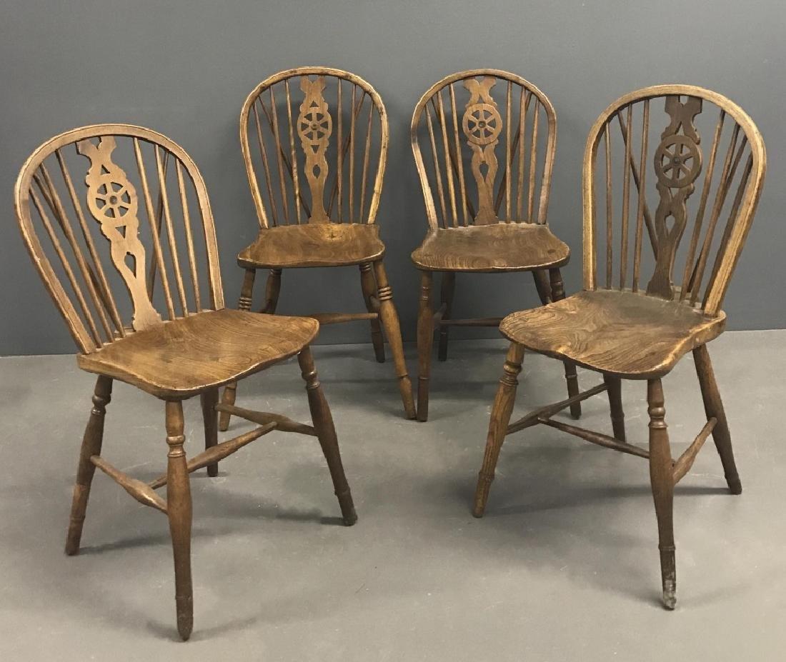Four English Oak Windsor Side Chairs