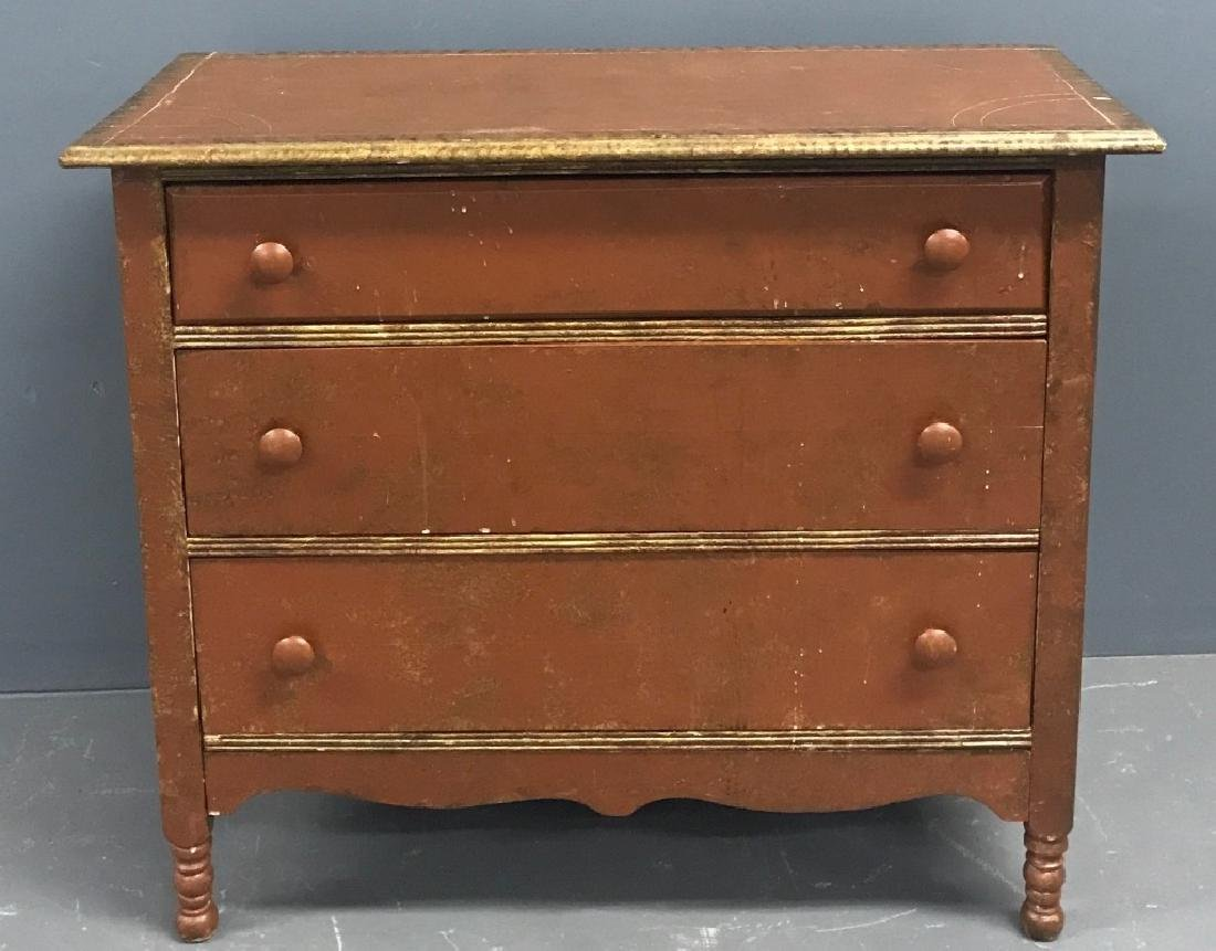 Red Painted Three Drawer Chest