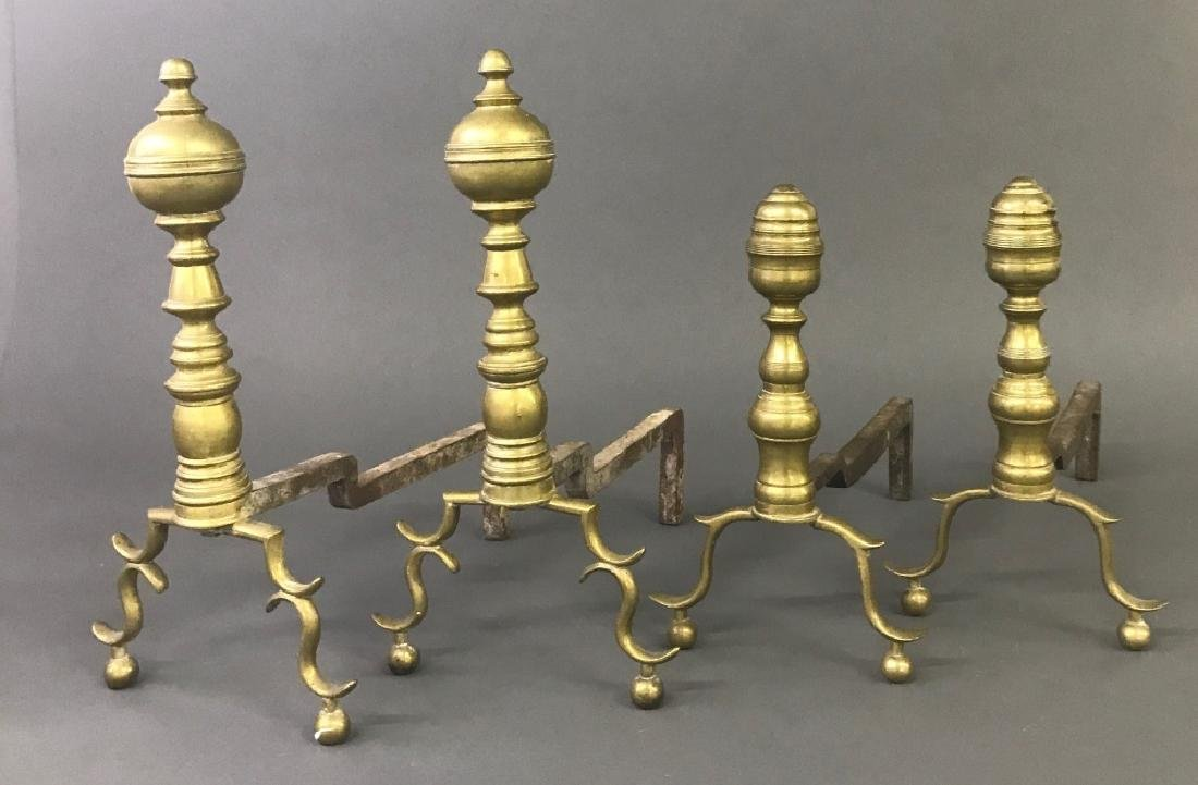Two Pair of Brass Andirons