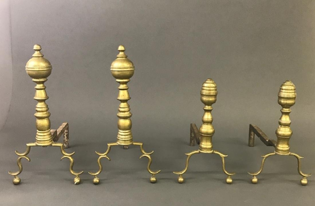 Two Pair of Brass Andirons - 2