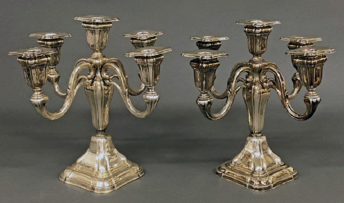 Pair of Continental Silver Candelabra