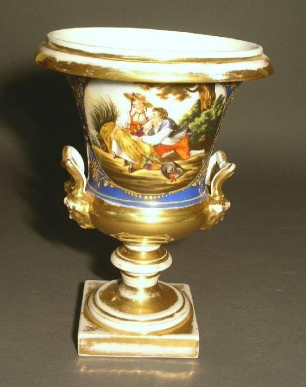 """14: Paris porcelain urn, 19th c. 11""""h.x8.5""""diam.@top"""