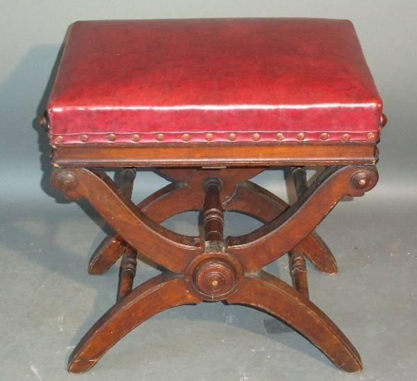 26: Victorian walnut adjustable piano stool with sciss