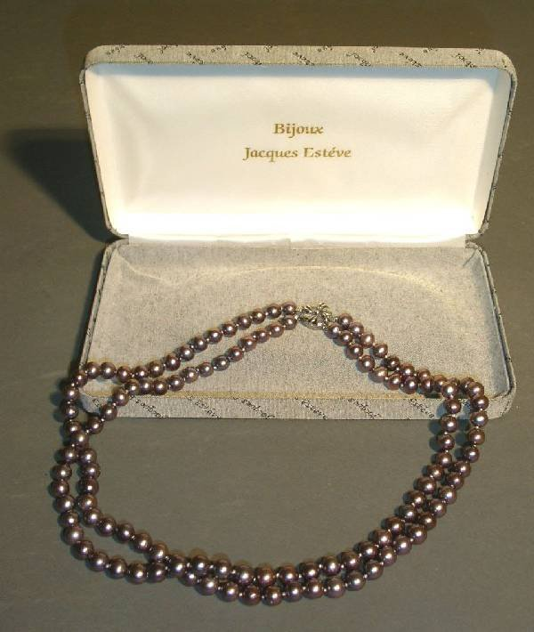 27: Double strand of black freshwater pearls with silve