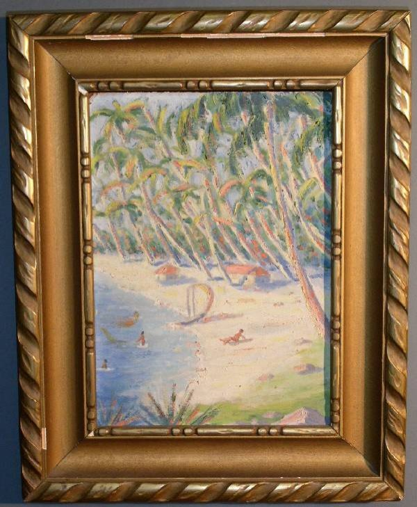 29: Oil on artist board painting of a beach scene. 13.7