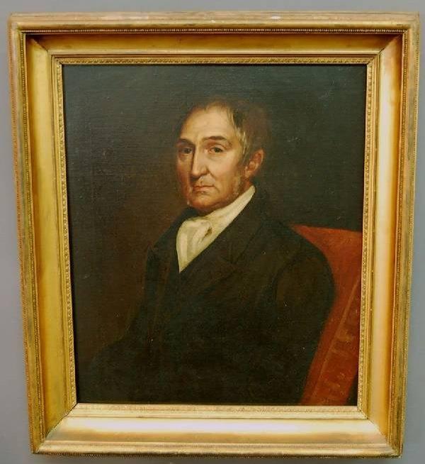30: Oil on canvas portrait of a gentleman, canvas laid