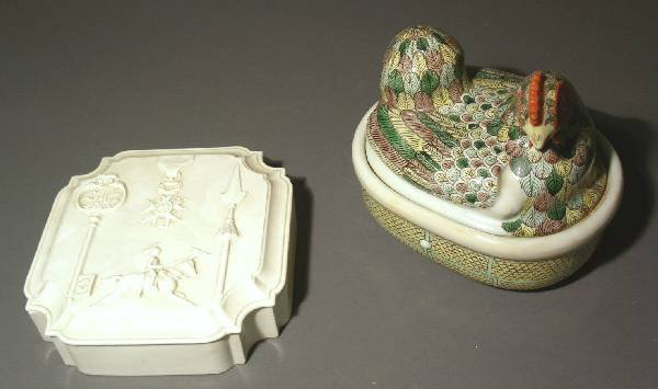"""32: Chinese porcelain rooster-on-nest, 20th c., 8""""h.x9"""