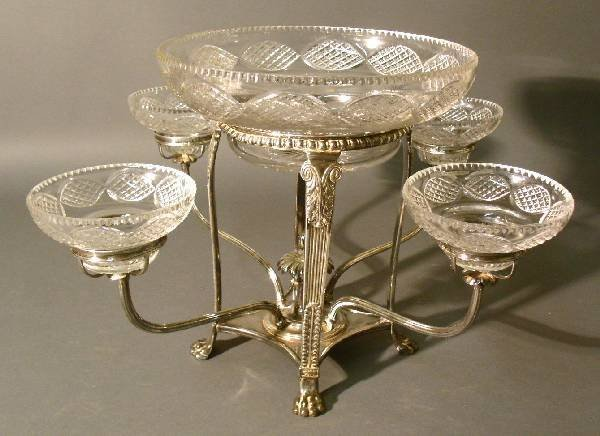 """34: Silver plate epergne with center crystal bowl 10"""""""