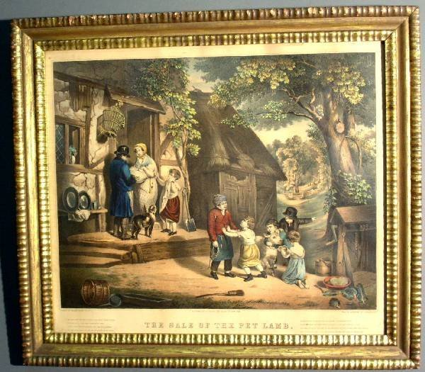"""35: N. Currier print """"The Sale of the Pet Lamb"""". 17""""x20"""