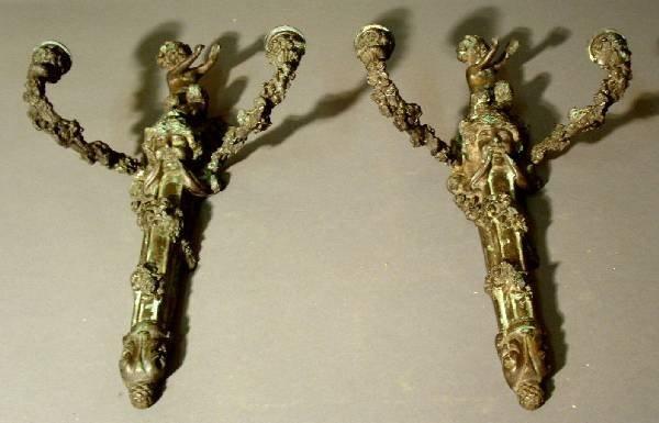 38: Pair of brass wall sconces, old black & verdigris