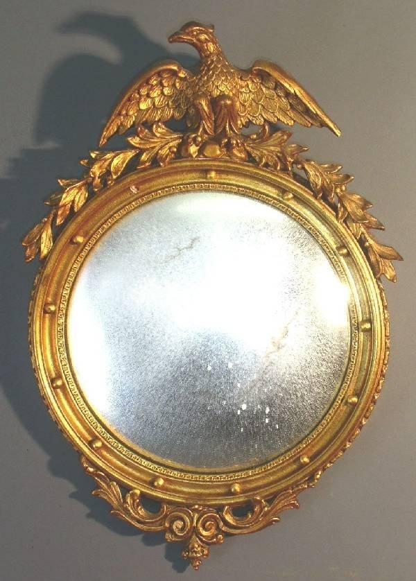 """39: Round convex mirror. 21""""x15"""""""