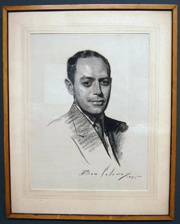 """40: Charcoal portrait signed """"Soloway/1945"""", Bucks Co."""