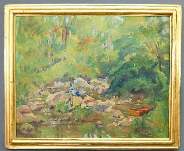 93: Oil on canvas landscape painting of a girl and str