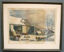 97 Currier  Ives lithograph The FarmYard in Winter