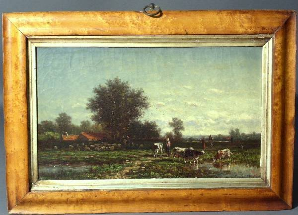 128: Continental oil on canvas painting of a landscape