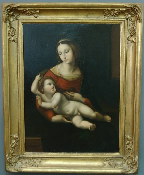 239: Oil on canvas painting of the Madonna and Child. 3