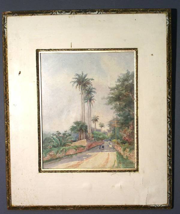 252: Watercolor painting of a road lined by palm trees