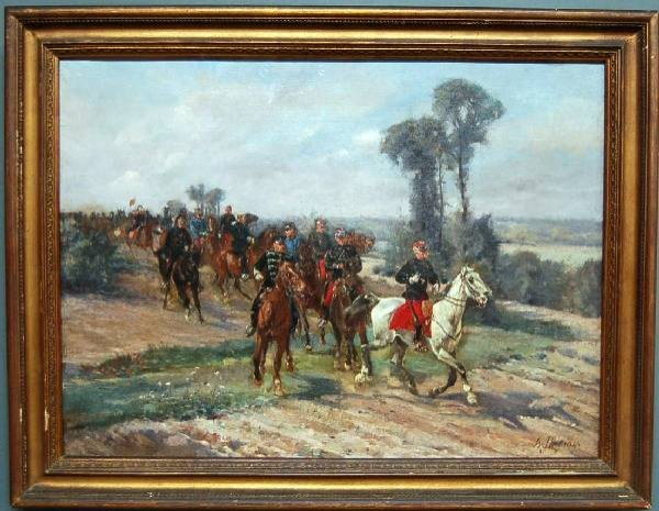 """253: Oil on canvas painting titled """"French Cavalry"""" sig"""